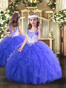 Floor Length Blue Pageant Dress Toddler Straps Sleeveless Lace Up