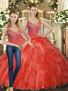 Best Organza Straps Sleeveless Lace Up Beading and Ruffles Quinceanera Gowns in Red