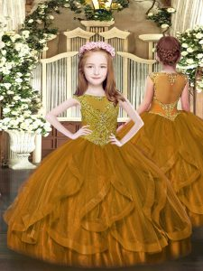 Customized Scoop Sleeveless Tulle Pageant Dress for Teens Beading and Ruffles Zipper