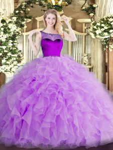 Beautiful Lavender Sleeveless Beading and Ruffles and Hand Made Flower Floor Length Quinceanera Gowns