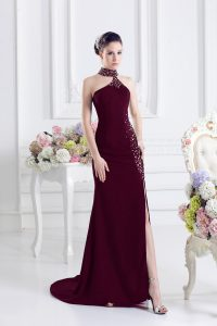 Lace Up Prom Gown Burgundy for Prom and Party with Beading Sweep Train