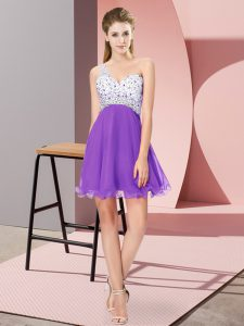 Fabulous Mini Length Criss Cross Prom Dress Eggplant Purple for Prom and Party with Beading