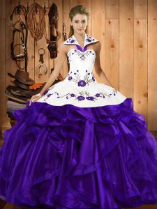 Popular Purple Sleeveless Floor Length Embroidery and Ruffled Layers Lace Up Vestidos de Quinceanera
