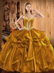 Low Price Gold Lace Up Sweetheart Embroidery and Ruffles Sweet 16 Dress Organza Sleeveless