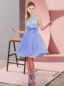Cheap Lavender Chiffon Side Zipper Scoop Sleeveless Knee Length Wedding Guest Dresses Lace and Bowknot