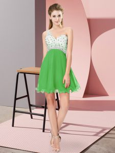 Sweet One Shoulder Sleeveless Criss Cross Dress for Prom Green Chiffon