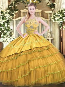 Beading and Embroidery and Ruffled Layers 15 Quinceanera Dress Gold Zipper Sleeveless Floor Length