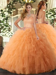 Orange Tulle Lace Up Sweetheart Sleeveless Floor Length Quinceanera Dresses Ruffles
