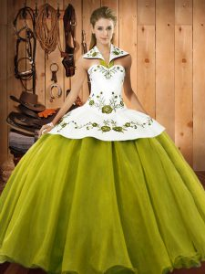Floor Length Olive Green Sweet 16 Quinceanera Dress Satin and Tulle Sleeveless Embroidery