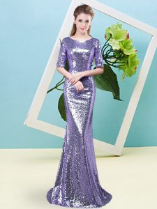 Enchanting Lavender Sequined Zipper Scoop Half Sleeves Floor Length Evening Dress Sequins