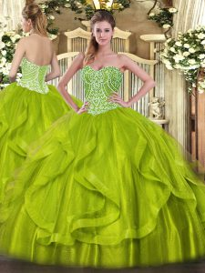 Glorious Floor Length Ball Gowns Sleeveless Yellow Green Quinceanera Dress Lace Up