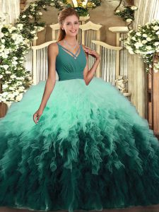 Multi-color Ball Gowns Organza V-neck Sleeveless Ruffles Floor Length Backless Quinceanera Gown