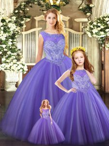 Tulle Scoop Sleeveless Lace Up Beading Quinceanera Gown in Lavender