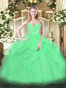 Spaghetti Straps Sleeveless Tulle Sweet 16 Quinceanera Dress Ruffles and Ruching Zipper