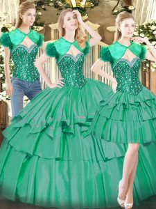 Pretty Sleeveless Floor Length Beading and Ruffled Layers Lace Up Sweet 16 Dress with Turquoise