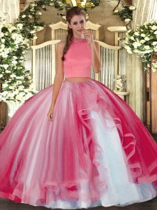 Latest Sleeveless Backless Floor Length Beading and Ruffles Quinceanera Gowns