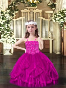 Fancy Sleeveless Tulle Floor Length Lace Up Pageant Dress for Teens in Fuchsia with Beading and Ruffles