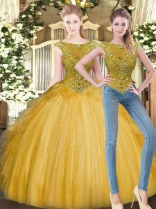 Sleeveless Tulle Floor Length Zipper Quinceanera Gowns in Gold with Beading and Ruffles