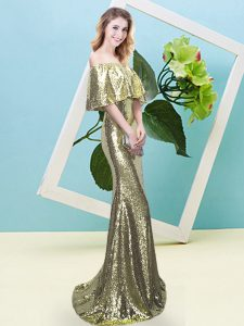 Popular Yellow Mermaid Sequins Dress for Prom Zipper Sequined Half Sleeves Floor Length