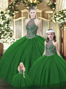 Dynamic Sleeveless Tulle Floor Length Lace Up Vestidos de Quinceanera in Dark Green with Beading