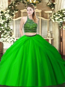 Green Two Pieces Tulle Halter Top Sleeveless Beading and Ruching Floor Length Zipper Quinceanera Dress