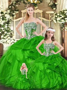 Organza Strapless Sleeveless Lace Up Beading and Ruffles Quinceanera Gown in Green
