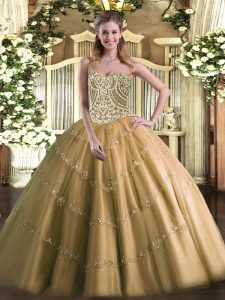 Brown Ball Gowns Sweetheart Sleeveless Tulle Floor Length Lace Up Beading 15th Birthday Dress