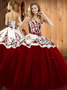 Wonderful Sleeveless Floor Length Embroidery Lace Up Quinceanera Gown with Wine Red