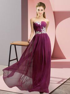 Captivating Dark Purple Sweetheart Lace Up Appliques Dress for Prom Sleeveless