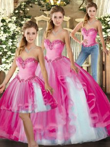 Unique Fuchsia Sleeveless Organza Lace Up 15th Birthday Dress for Military Ball and Sweet 16 and Quinceanera