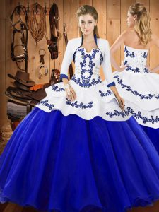 Decent Floor Length Ball Gowns Sleeveless Royal Blue Vestidos de Quinceanera Lace Up