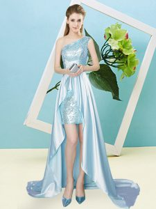 Light Blue Homecoming Dress Prom and Party with Sequins One Shoulder Sleeveless Lace Up