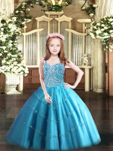 Baby Blue Tulle Lace Up Little Girls Pageant Gowns Sleeveless Floor Length Beading