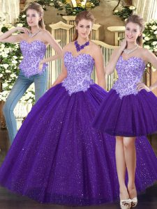 Purple Sweet 16 Dress Military Ball and Sweet 16 and Quinceanera with Beading Sweetheart Sleeveless Lace Up