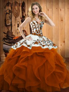 Sweetheart Sleeveless Satin and Organza Sweet 16 Dress Embroidery and Ruffles Lace Up