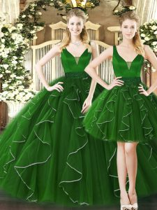 Dark Green Sleeveless Floor Length Ruffles Lace Up Ball Gown Prom Dress