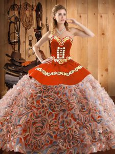 Perfect Multi-color Quinceanera Dress Military Ball and Sweet 16 and Quinceanera with Embroidery Sweetheart Sleeveless Sweep Train Lace Up