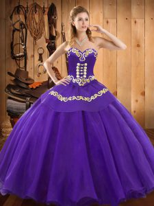 Purple Satin and Tulle Lace Up Sweetheart Sleeveless Floor Length Ball Gown Prom Dress Embroidery