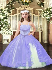 Lavender Tulle Lace Up Straps Sleeveless Floor Length Pageant Dress Toddler Beading