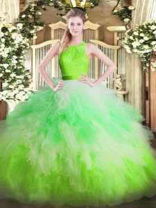 Superior Multi-color Ball Gowns Organza Scoop Sleeveless Ruffles Floor Length Zipper Quince Ball Gowns