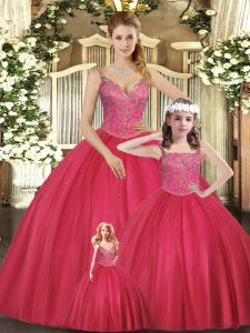Hot Pink Sleeveless Beading Floor Length Quinceanera Gowns