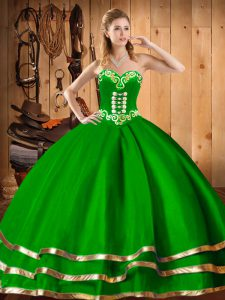 Fitting Floor Length Dark Green Vestidos de Quinceanera Organza Sleeveless Embroidery