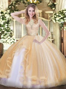 Sophisticated Sleeveless Floor Length Lace and Ruffles Backless Quinceanera Gown with Champagne