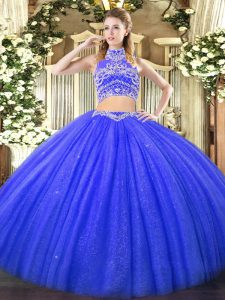 New Arrival Blue Two Pieces Beading Quinceanera Dress Backless Tulle Sleeveless Floor Length