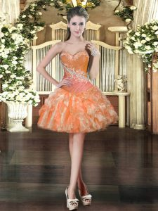 New Style Orange Sleeveless Organza Lace Up Prom Gown for Prom and Party