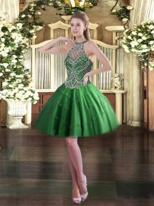 Mini Length Lace Up Green for Prom and Party with Beading