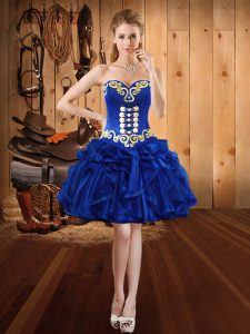 Edgy Embroidery and Ruffles Homecoming Dress Royal Blue Lace Up Sleeveless Mini Length