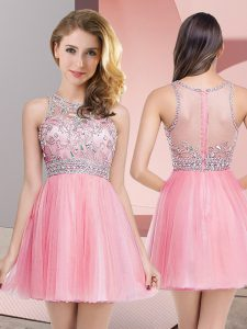 Sleeveless Zipper Mini Length Beading Prom Gown