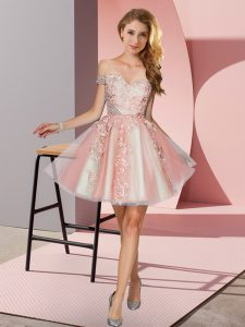 A-line Bridesmaid Dress Peach Off The Shoulder Tulle Sleeveless Mini Length Zipper