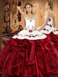 On Sale Sleeveless Organza Floor Length Lace Up Quinceanera Dresses in Wine Red with Embroidery and Ruffles